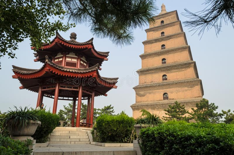 Giant Wild Goose Pagoda, Xian, Shaanxi province, China. XIAN, CHINA - OCTOBER 17, 2013: Giant Wild Goose Pagoda and small openwork alcov. Big Wild Goose Pagoda royalty free stock photos
