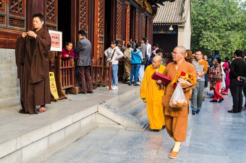Monks at Giant Wild Goose Pagoda, Xi`an, Shaanxi Province, China. stock image