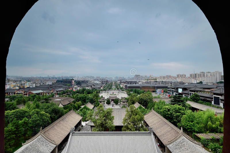 Xian China-See Xi'an city in Big Wild Goose Pagoda royalty free stock photo