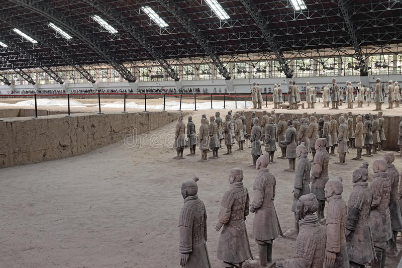 Xian China-Terracotta Army Soldiers Horses repair work area royalty free stock photo