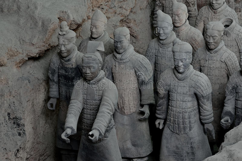 Xian China-Terracotta Army Soldiers Horses. Tourists travel to the Orient in Xian in China,visit the ever popular Terracotta Army Soldiers Horses,Chinese royalty free stock photography