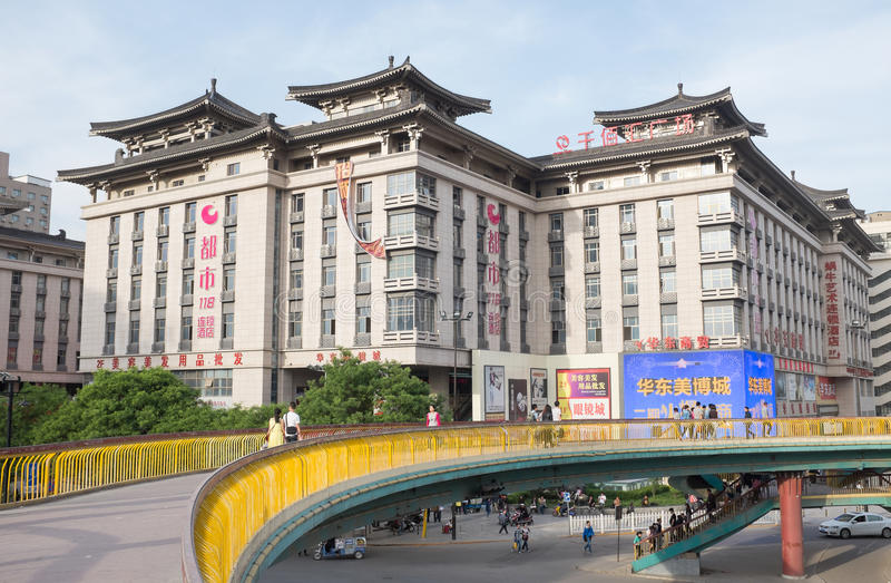 Xian, China. Urban scenery of downtown Xian, China with modern and historical buildings stock photography