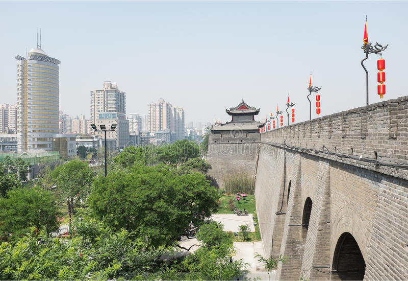 Xian, China. View of Xian city wall and modern buildings. Xian is the old capital of China royalty free stock photography