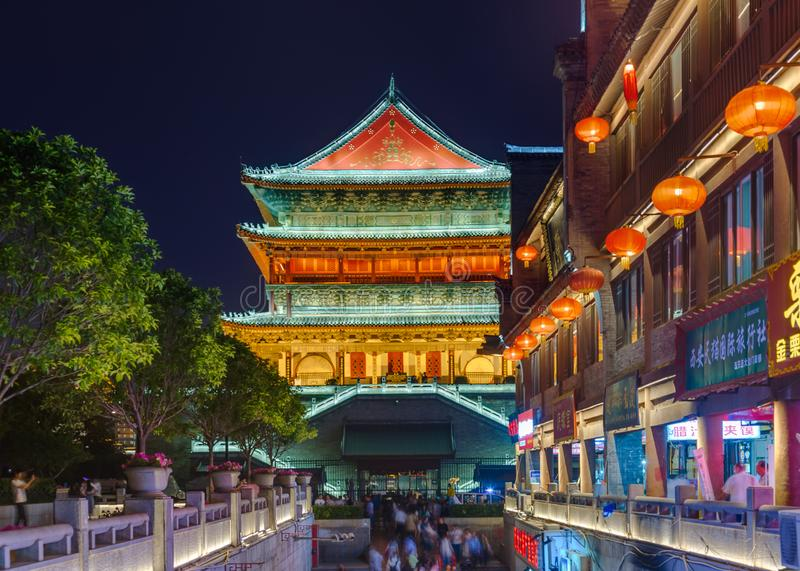 Xian, Chine - 19 mai 2018 : Tour de tambour dans la vieille ville photo stock