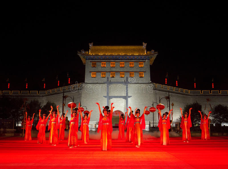 Xian City, China. Traditional ceremony to enter City of Xian, China stock images
