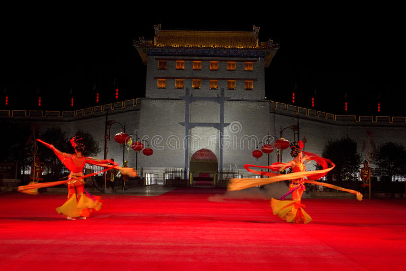 Xian City, China. Ribbon dance, traditional ceremony to enter City of Xian, China stock photography