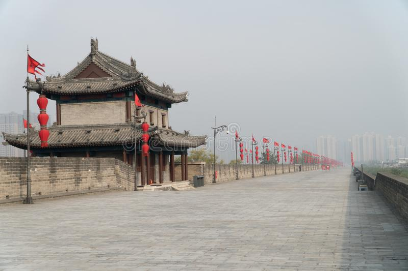 Xian City Wall China in Fog. Xian City Wall on a Foggy Morning in China Wide Shot with Copy Space royalty free stock image