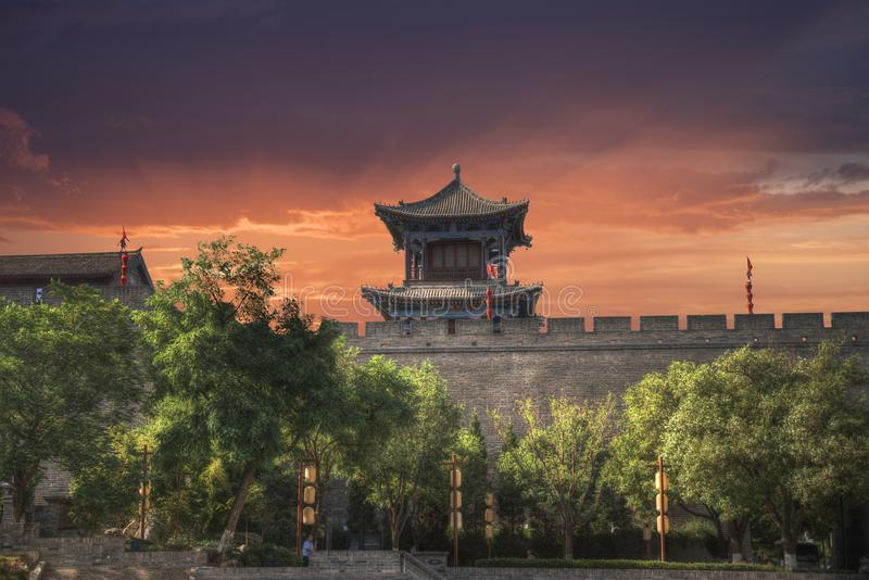 Xian city wall. The largest monument of Chinese architecture stock image