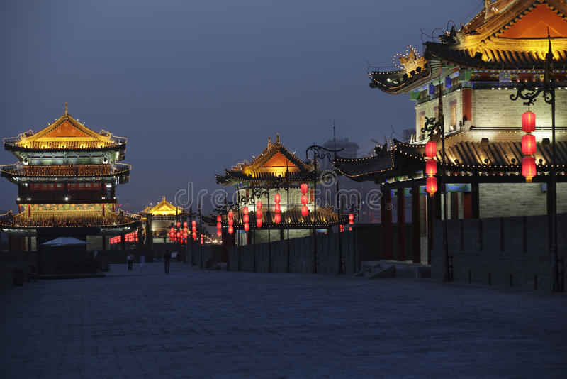 Xian city wall. Night scene at xian city wall,china stock photo