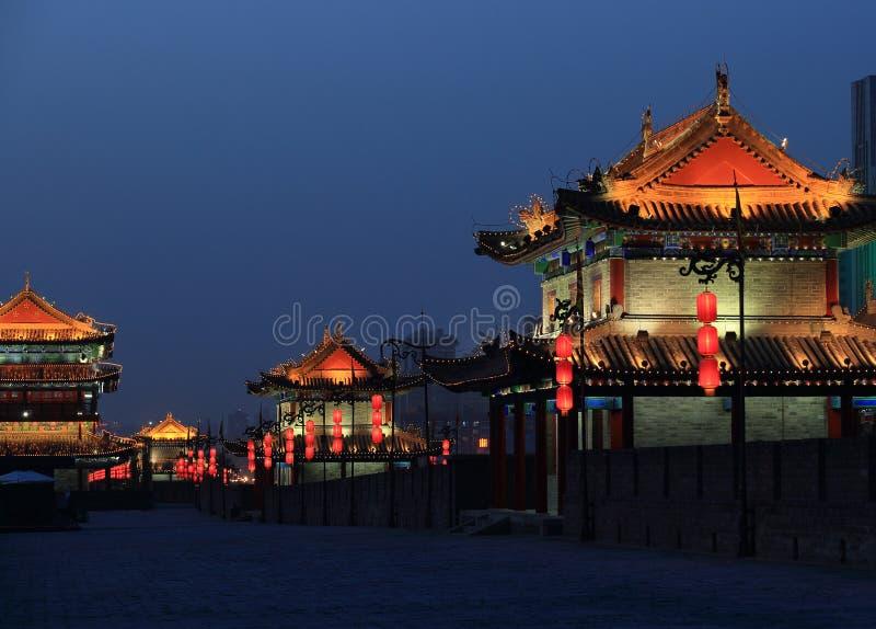 Xian city wall. Night scene at xian city wall,china stock photos