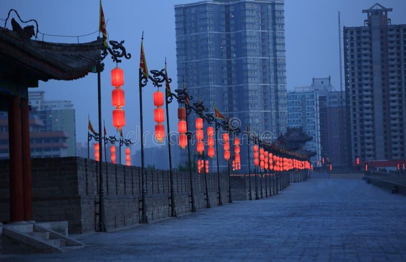 Xian city wall. Night scene at xian city wall,china royalty free stock photos