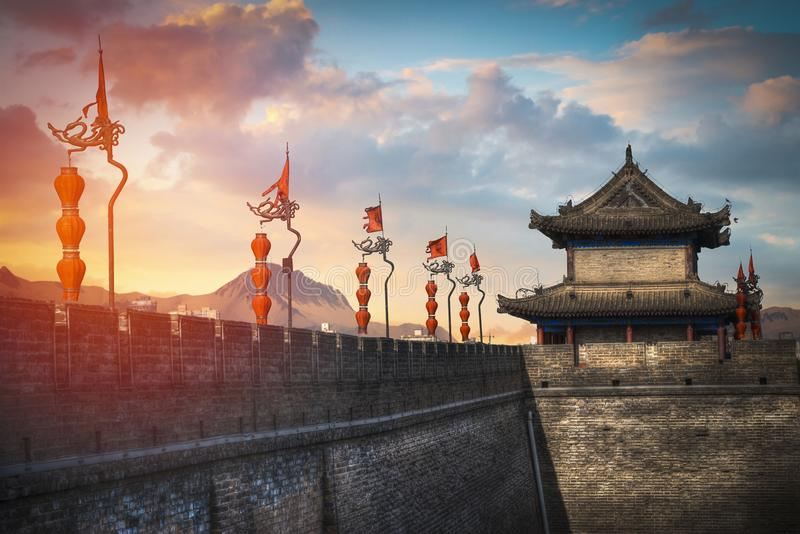 Xian city wall. royalty free stock image