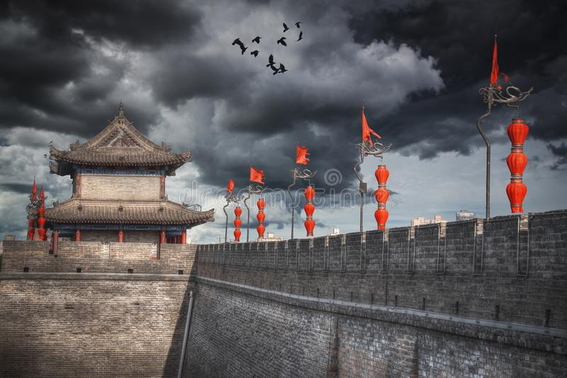 Xian city wall. The largest monument of Chinese architecture stock photos