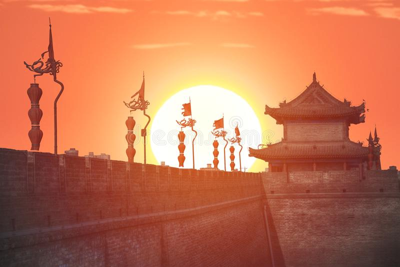 Xian city wall. The largest monument of Chinese architecture royalty free stock image