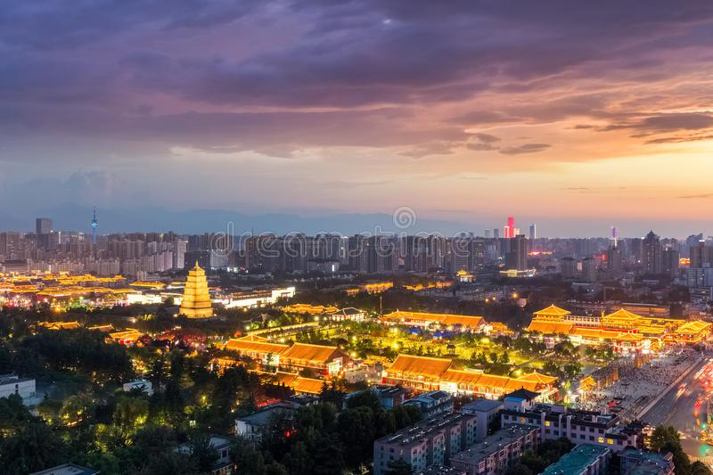 Xian cityscape of big wild goose pagoda. In sunset, China stock photography