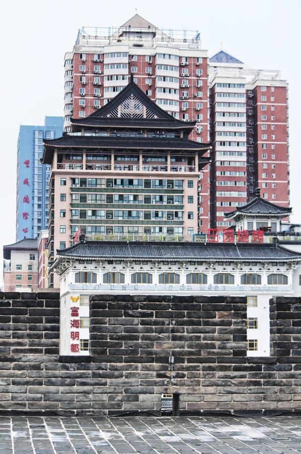 Xian Cityscape på den södra portväggen arkivbild