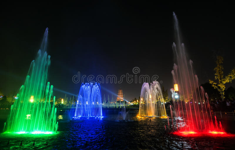 Xian at night,giant wild goose pagoda. Xian at night and Illuminated water show at 1300-year-old Big Wild Goose Pagoda in Xian, Shaanxi province, China stock images