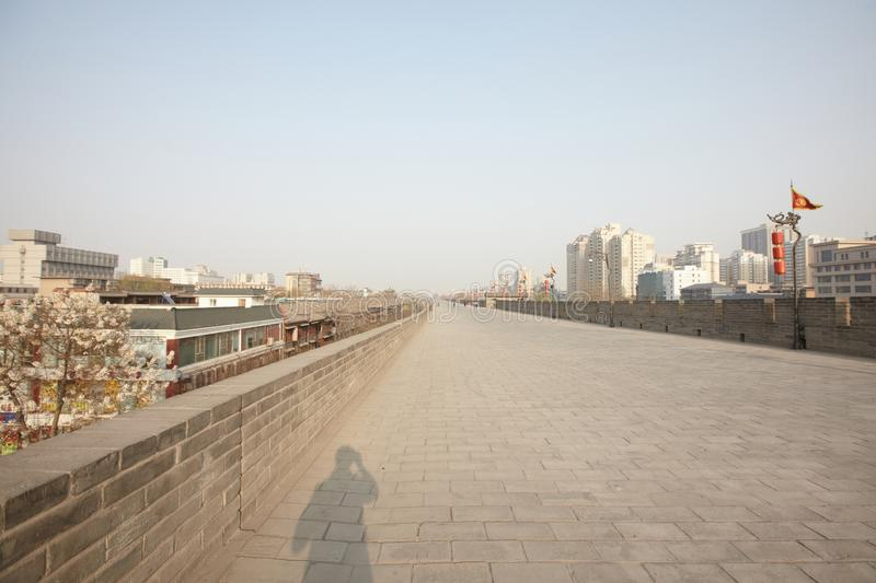 Xian view from the city wall. Have a look on the city wall of Xian,China. many buildings royalty free stock photos