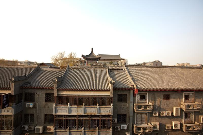 Xian view from the city wall. Have a look on the city wall of Xian,China. many old buildings royalty free stock image