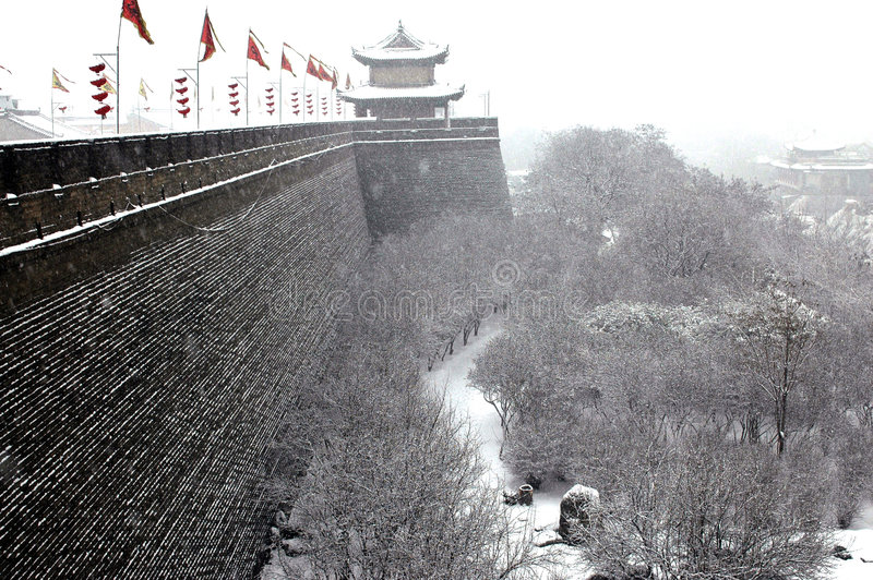 Xian(xi'an)city wall in snow royalty free stock image