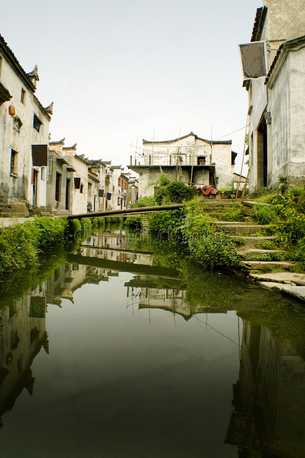 Xiao likeng, beautiful village in south china. Traditional architecture in jiangxi province, wuyuan county. Agriculture, cultivations of tea and rice royalty free stock photos