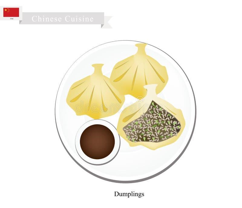 Xiao Long Bao o gnocchi cinesi della minestra illustrazione vettoriale
