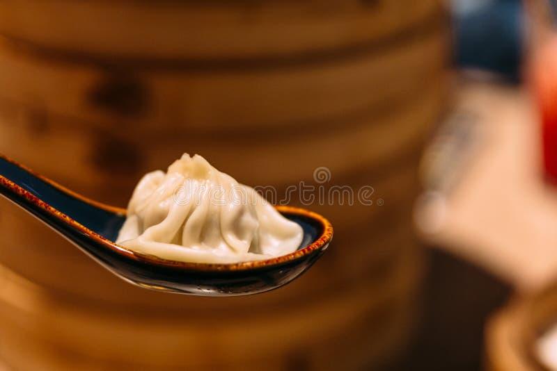 Xiao Long Bao Soup Dumpling en cuchara con la cesta de bambú de la flámula de la falta de definición en fondo fotos de archivo libres de regalías