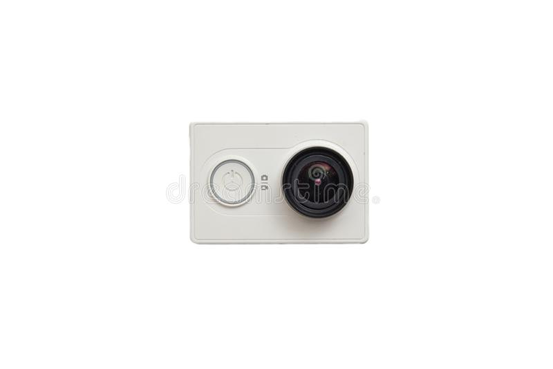 Xiaomi YI cam on white background. Opalenica, Poland - 07 16 2018: Xiaomi YI actioncam on white background stock photos