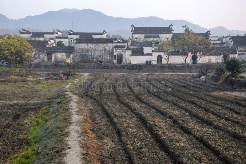 Xidi, uma vila antiga pequena na província de Anhui em China perto das montanhas amarelas imagens de stock