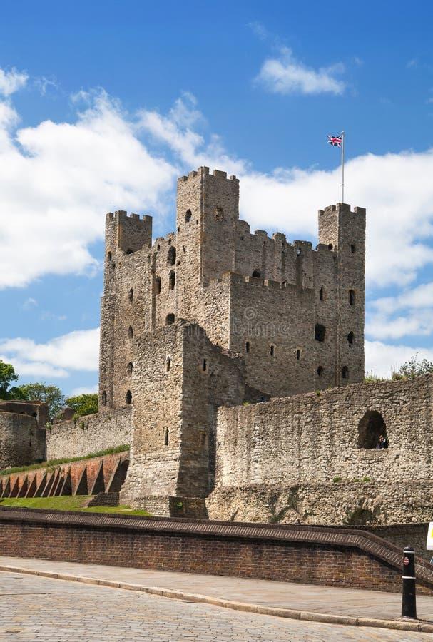 XII secolo del castello di Rochester Castello e rovine delle fortificazioni Risonanza, Inghilterra sudorientale fotografia stock