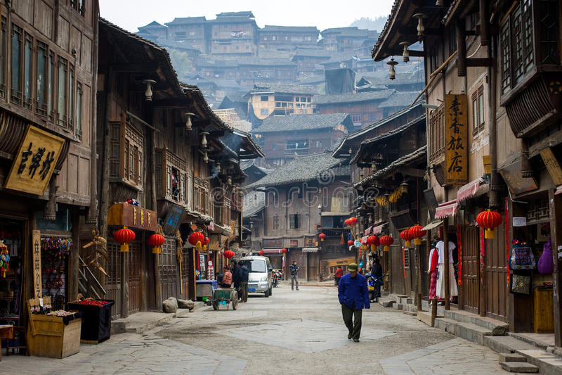 Xijiang Miao village. Xijiang is a village in Eastern Guizhou, known as the largest Miao village in China. It bears the title 'thousand household village' and royalty free stock images