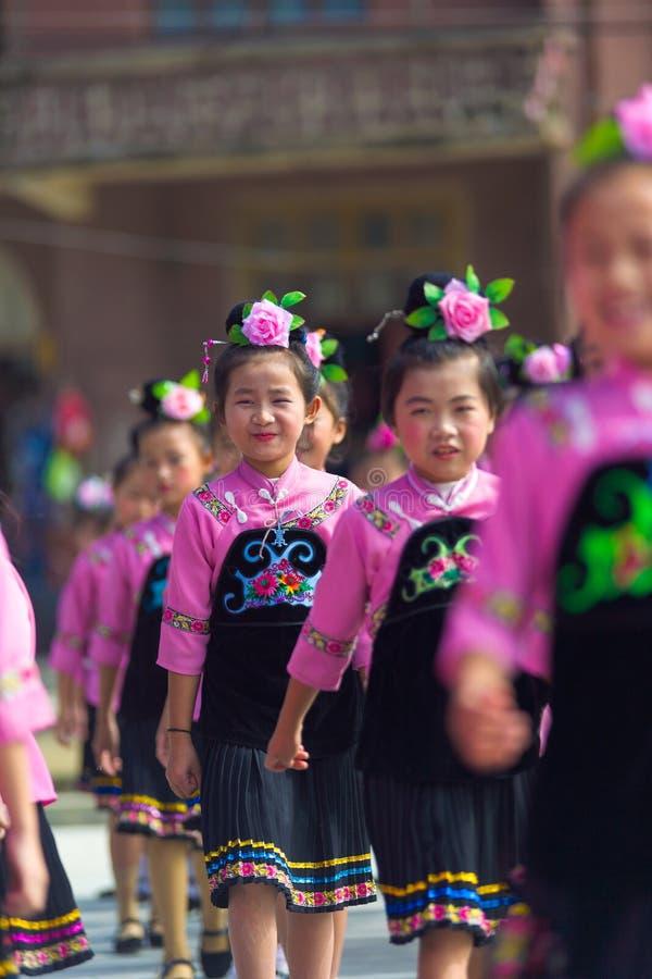 Xijiang Miao Village Festival Girls Perform Pink royalty free stock image