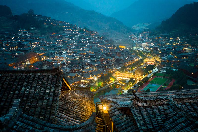 Xijiang tausend Familie Miao-Dorf, Guizhou, China lizenzfreie stockfotografie