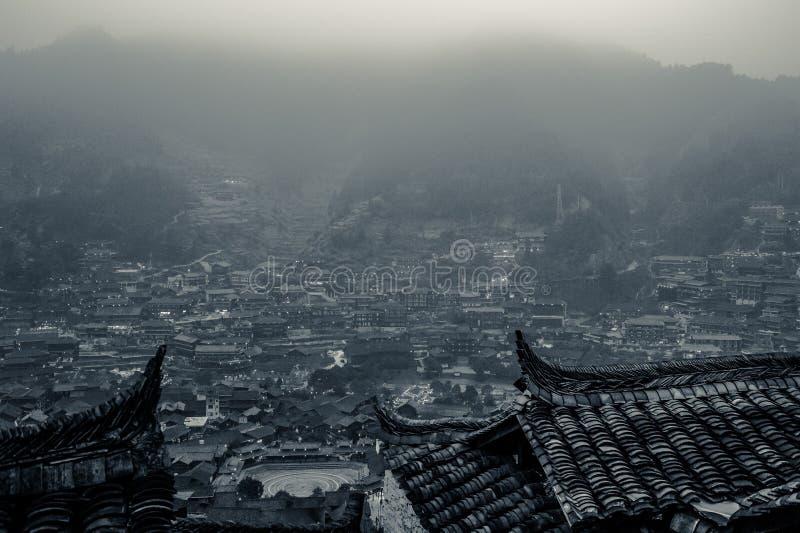 Xijiang tusen familjMiao by, Guizhou, Kina royaltyfri bild
