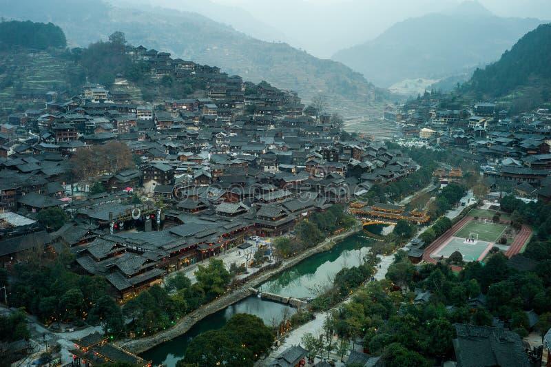 Xijiang tusen familjMiao by, Guizhou, Kina arkivfoto