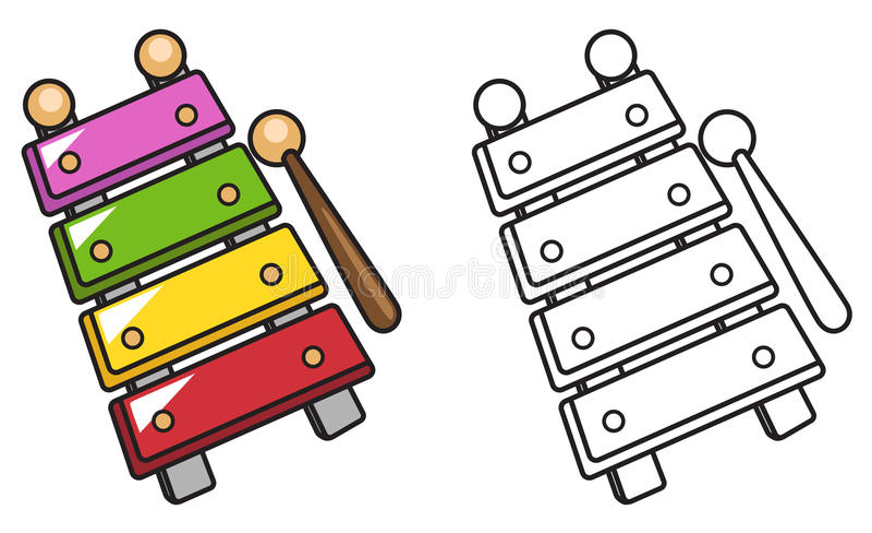 Xilofone colorido e preto e branco para o livro para colorir ilustração royalty free