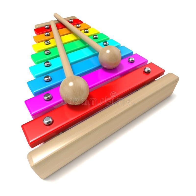 Xilofone com chaves coloridas do arco-íris e com as duas varas de madeira do cilindro 3d rendem ilustração royalty free