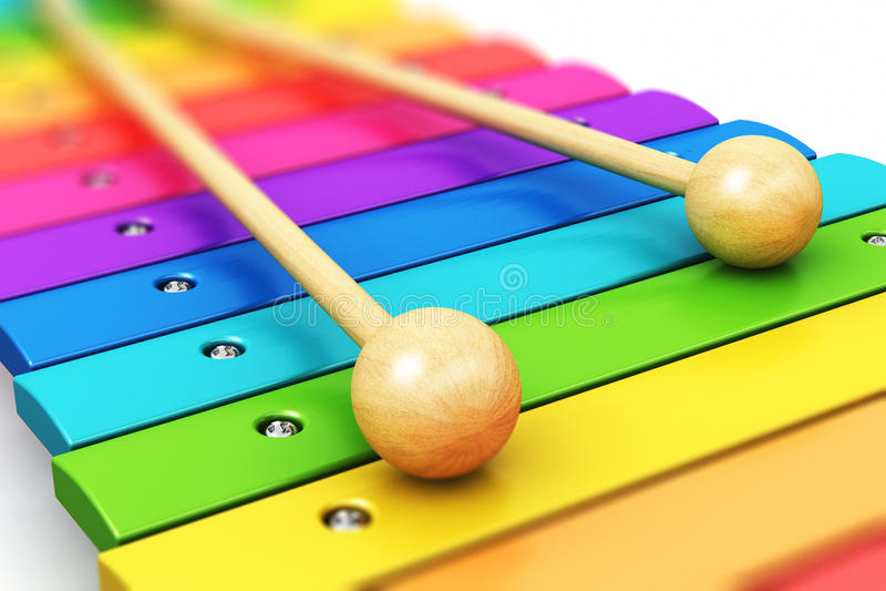 Xilofone de madeira do arco-íris ilustração stock