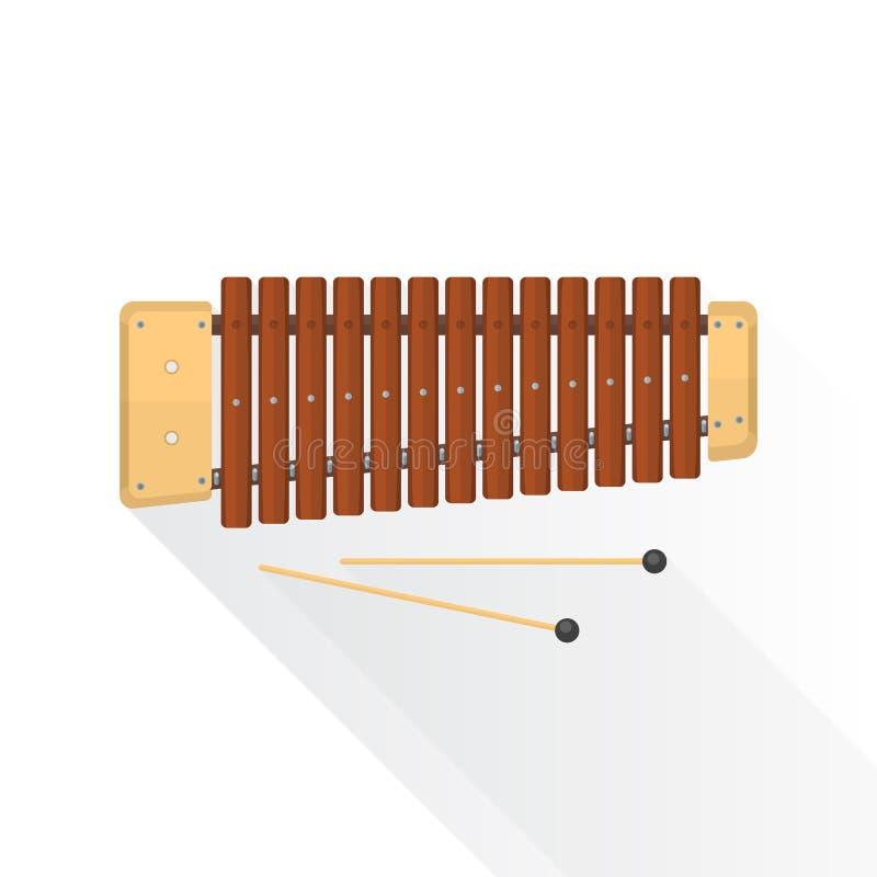 Xilofone liso da madeira do vetor do estilo da cor ilustração royalty free