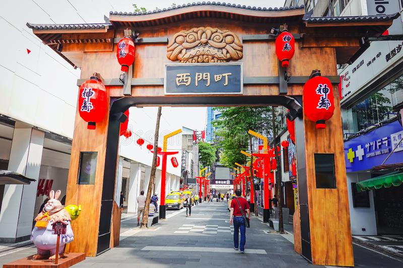 Street view in Taiwan. Ximending is a neighborhood and shopping district in the Wanhua District of Taipei stock photos