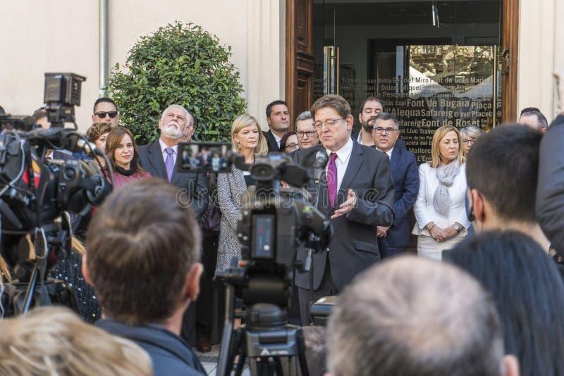 Ximo Puig prezydent Valencian Generalitat zdjęcia stock