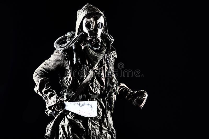 Ximpx w ekologicznej kataklizm istocie ludzkiej w masce gazowej zdjęcia stock