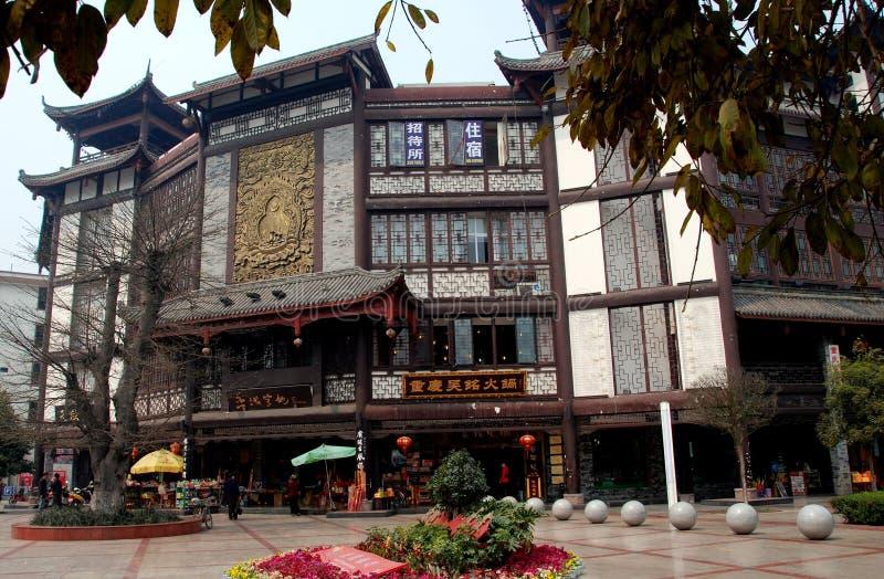xindu för gammal stil för byggnadsporslin kinesisk fotografering för bildbyråer