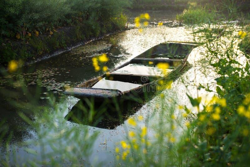 XINGHUA, CHINY: Paddle łódź wzdłuż kanału w rapeseed polu przy rankiem zdjęcie stock