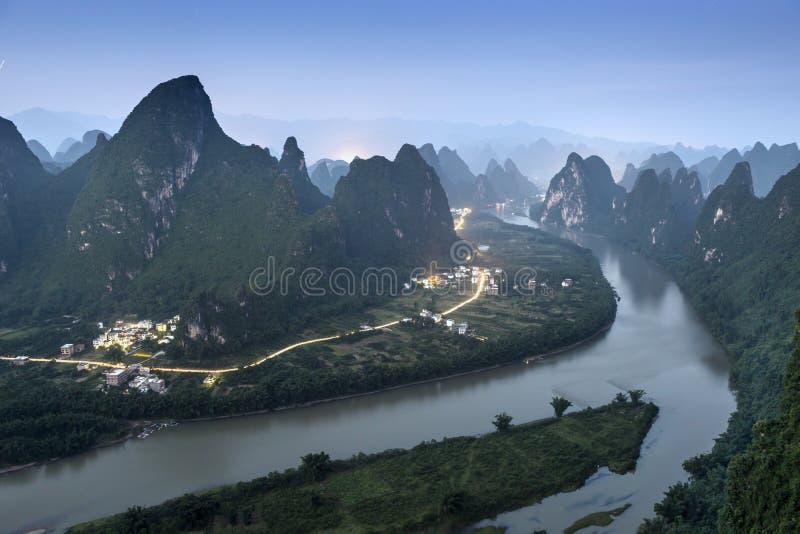 Xingping landskap fotografering för bildbyråer