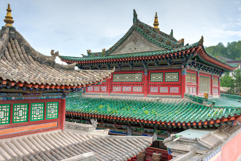 XINING CHINY, Jun, - 30 2014: Kumbum monaster sławny punkt zwrotny fotografia stock