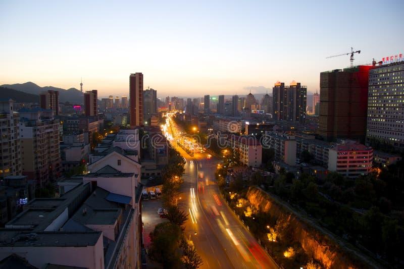 Xining på skymning royaltyfria foton