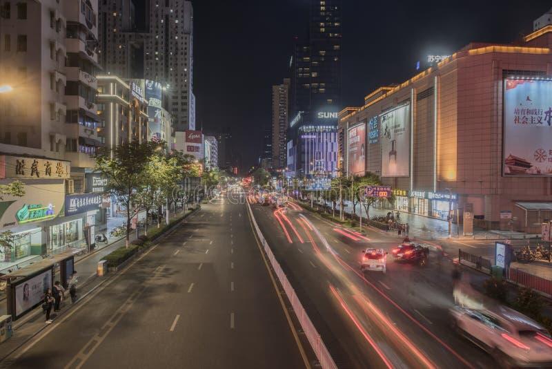 Xinjiakou夜风景,运输流量 库存图片