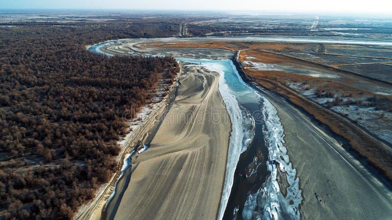 Xinjiang, Κίνα: Άνοιξη της βλάστησης ερήμων μετά από τον πάγο που λειώνει στον ποταμό Tarim στοκ φωτογραφία με δικαίωμα ελεύθερης χρήσης