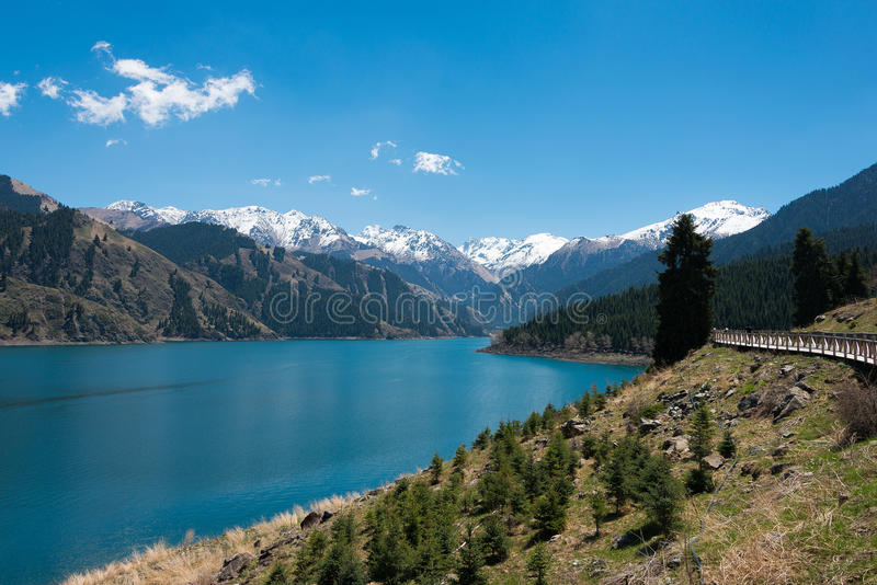 XINJIANG, CHINA - May 09 2015: Heaven Lake of Tian Shan(Tianchi). a famous World Heritage site in Fukang, Changji, stock photo